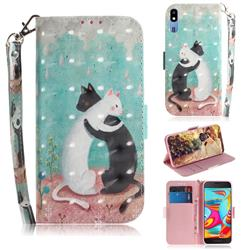 Black and White Cat 3D Painted Leather Wallet Phone Case for Samsung Galaxy A2 Core