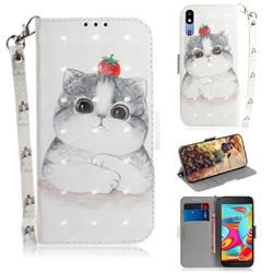 Cute Tomato Cat 3D Painted Leather Wallet Phone Case for Samsung Galaxy A2 Core