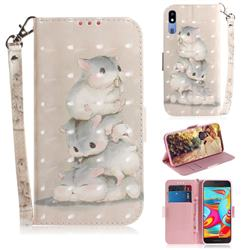 Three Squirrels 3D Painted Leather Wallet Phone Case for Samsung Galaxy A2 Core