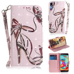 Butterfly High Heels 3D Painted Leather Wallet Phone Case for Samsung Galaxy A2 Core
