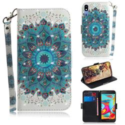 Peacock Mandala 3D Painted Leather Wallet Phone Case for Samsung Galaxy A2 Core
