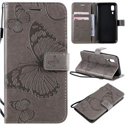 Embossing 3D Butterfly Leather Wallet Case for Samsung Galaxy A2 Core - Gray
