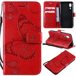 Embossing 3D Butterfly Leather Wallet Case for Samsung Galaxy A2 Core - Red