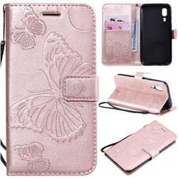 Embossing 3D Butterfly Leather Wallet Case for Samsung Galaxy A2 Core - Rose Gold