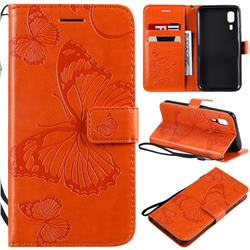 Embossing 3D Butterfly Leather Wallet Case for Samsung Galaxy A2 Core - Orange