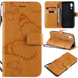 Embossing 3D Butterfly Leather Wallet Case for Samsung Galaxy A2 Core - Yellow