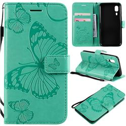 Embossing 3D Butterfly Leather Wallet Case for Samsung Galaxy A2 Core - Green