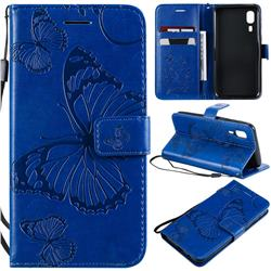 Embossing 3D Butterfly Leather Wallet Case for Samsung Galaxy A2 Core - Blue