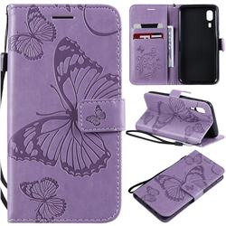 Embossing 3D Butterfly Leather Wallet Case for Samsung Galaxy A2 Core - Purple