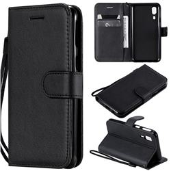 Retro Greek Classic Smooth PU Leather Wallet Phone Case for Samsung Galaxy A2 Core - Black