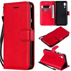 Retro Greek Classic Smooth PU Leather Wallet Phone Case for Samsung Galaxy A2 Core - Red