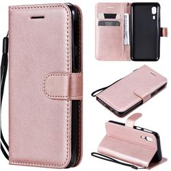 Retro Greek Classic Smooth PU Leather Wallet Phone Case for Samsung Galaxy A2 Core - Rose Gold
