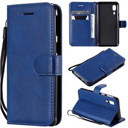 Retro Greek Classic Smooth PU Leather Wallet Phone Case for Samsung Galaxy A2 Core - Blue