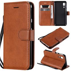 Retro Greek Classic Smooth PU Leather Wallet Phone Case for Samsung Galaxy A2 Core - Brown