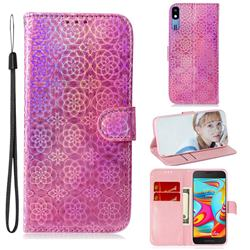 Laser Circle Shining Leather Wallet Phone Case for Samsung Galaxy A2 Core - Pink