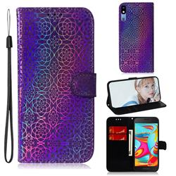 Laser Circle Shining Leather Wallet Phone Case for Samsung Galaxy A2 Core - Purple