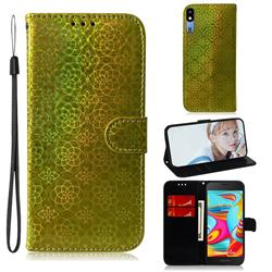 Laser Circle Shining Leather Wallet Phone Case for Samsung Galaxy A2 Core - Golden