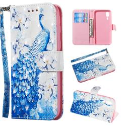 Blue Peacock 3D Painted Leather Wallet Phone Case for Samsung Galaxy A2 Core