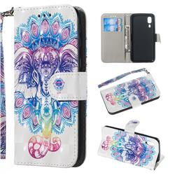 Colorful Elephant 3D Painted Leather Wallet Phone Case for Samsung Galaxy A2 Core