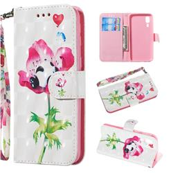 Flower Panda 3D Painted Leather Wallet Phone Case for Samsung Galaxy A2 Core