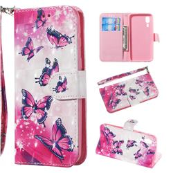 Pink Butterfly 3D Painted Leather Wallet Phone Case for Samsung Galaxy A2 Core