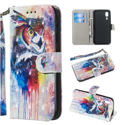 Watercolor Owl 3D Painted Leather Wallet Phone Case for Samsung Galaxy A2 Core
