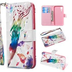 Music Pen 3D Painted Leather Wallet Phone Case for Samsung Galaxy A2 Core