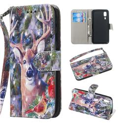 Elk Deer 3D Painted Leather Wallet Phone Case for Samsung Galaxy A2 Core