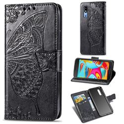 Embossing Mandala Flower Butterfly Leather Wallet Case for Samsung Galaxy A2 Core - Black