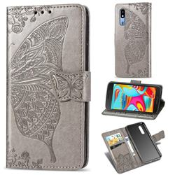 Embossing Mandala Flower Butterfly Leather Wallet Case for Samsung Galaxy A2 Core - Gray