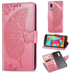 Embossing Mandala Flower Butterfly Leather Wallet Case for Samsung Galaxy A2 Core - Pink