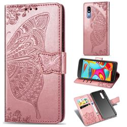 Embossing Mandala Flower Butterfly Leather Wallet Case for Samsung Galaxy A2 Core - Rose Gold