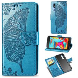 Embossing Mandala Flower Butterfly Leather Wallet Case for Samsung Galaxy A2 Core - Blue