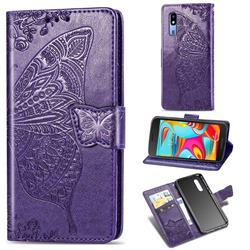 Embossing Mandala Flower Butterfly Leather Wallet Case for Samsung Galaxy A2 Core - Dark Purple