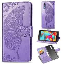 Embossing Mandala Flower Butterfly Leather Wallet Case for Samsung Galaxy A2 Core - Light Purple