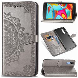 Embossing Imprint Mandala Flower Leather Wallet Case for Samsung Galaxy A2 Core - Gray