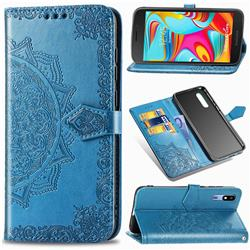 Embossing Imprint Mandala Flower Leather Wallet Case for Samsung Galaxy A2 Core - Blue