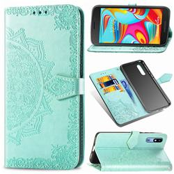 Embossing Imprint Mandala Flower Leather Wallet Case for Samsung Galaxy A2 Core - Green