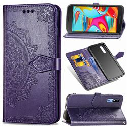 Embossing Imprint Mandala Flower Leather Wallet Case for Samsung Galaxy A2 Core - Purple