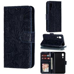 Intricate Embossing Lace Jasmine Flower Leather Wallet Case for Samsung Galaxy A2 Core - Dark Blue