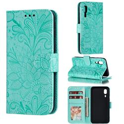 Intricate Embossing Lace Jasmine Flower Leather Wallet Case for Samsung Galaxy A2 Core - Green