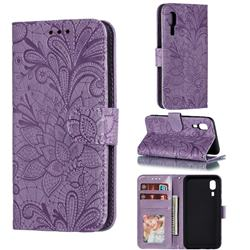 Intricate Embossing Lace Jasmine Flower Leather Wallet Case for Samsung Galaxy A2 Core - Purple