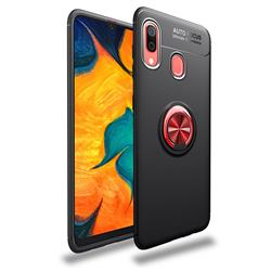 Auto Focus Invisible Ring Holder Soft Phone Case for Samsung Galaxy A30 - Black Red
