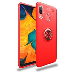 Auto Focus Invisible Ring Holder Soft Phone Case for Samsung Galaxy A30 - Red