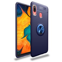 Auto Focus Invisible Ring Holder Soft Phone Case for Samsung Galaxy A30 - Blue