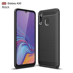 Luxury Carbon Fiber Brushed Wire Drawing Silicone TPU Back Cover for Samsung Galaxy A30 - Black
