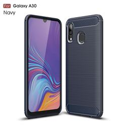 Luxury Carbon Fiber Brushed Wire Drawing Silicone TPU Back Cover for Samsung Galaxy A30 - Navy