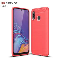 Luxury Carbon Fiber Brushed Wire Drawing Silicone TPU Back Cover for Samsung Galaxy A30 - Red