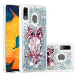 Seashell Owl Dynamic Liquid Glitter Quicksand Soft TPU Case for Samsung Galaxy A30