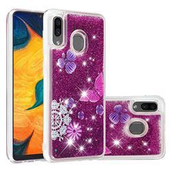 Purple Flower Butterfly Dynamic Liquid Glitter Quicksand Soft TPU Case for Samsung Galaxy A30